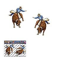 BULL RIDER Small Animal Rodeo Cowboy Country Funny Pack Car Stickers Decals - ST00003_1 - JAS Stickers