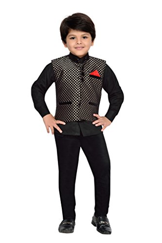 AJ Dezines Kids Party Wear Suit Set for Boys (665_BLACK_1)