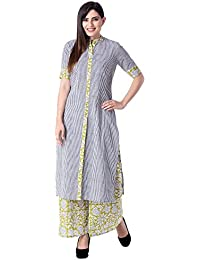 Khushal Women's Cotton Straight Lining Kurta Kurti With Pant Palazzo