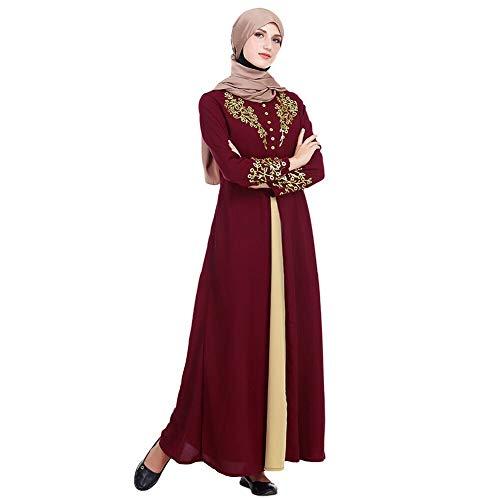 Kostüm Muslimischen - Meijunter Muslimisches Kleid für Damen - Golddruck Kleider Arabisches Langarm Abaya Ethnisches Kostüm Dubai Kaftan für Ramadan Rot XXL