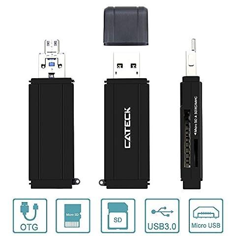 Cateck micro USB OTG et lecteur de cartes mémoire flash avec 2 fentes USB 3.0 grande vitesse, prenant en charges les SD / Micro SD pour Windows, Mac, Linux et certains systèmes androïdes