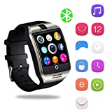 Bluetooth Smartwatch, YAPMOR Smart Armbanduhr Kompatibel mit Android/IOS, Fitness Tracker Armband Sportuhr mit Alarm/Schlaf Analyse/Romte Capture/Kamera Schuss/GPS Route Tracking (Q18)