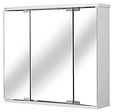 "Jokey ""Funa LED"" Mirrored Wardrobe White - inexpensive UK light shop."