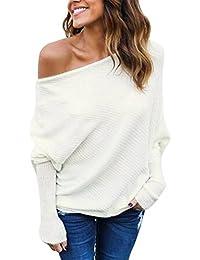 PassMe Donna Maglione Maglia Maniche Lunghe Pipistrello Senza Spalline Maglietta Pullover Casuale Elegante Tops Bluse Allentato