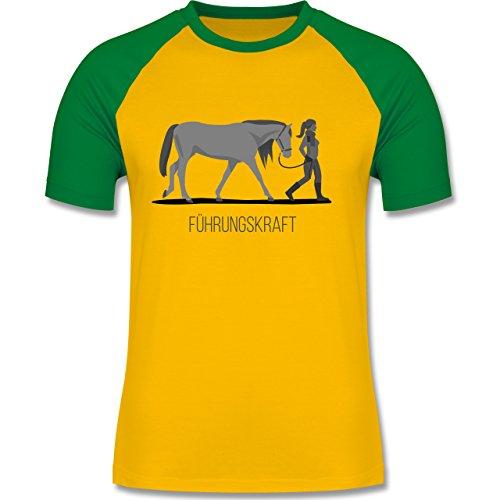 Reitsport - Führungskraft - zweifarbiges Baseballshirt für Männer Gelb/Grün
