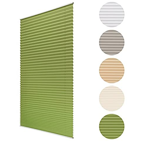 Sol Royal Plissee SolDecor P25 - 45x100 cm Grün - Klemm-Fix ohne Bohren - Plissee-Rollo Jalousie für Fenster &