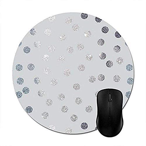 Computer Matte,Runde Mauspads Hellgrau und Imitat-Silber-Glitter-Punkte Mauspad -