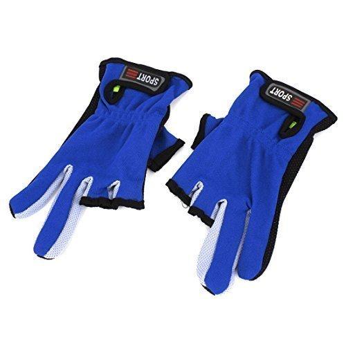 Paar Schwarz Blau Antislip Palm 3 Schnitt Finger Angeln Angel-handschuhe
