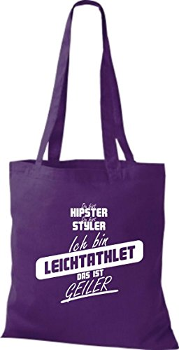 Shirtstown Stoffbeutel du bist hipster du bist styler ich bin Leichtathlet das ist geiler lila