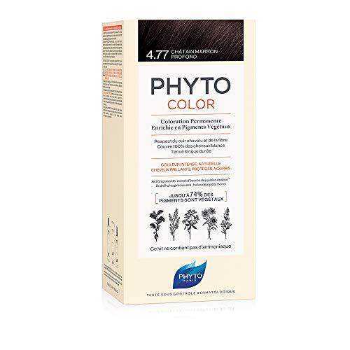 PHYTO PHYTOCOLOR 4.77 Castano marrone intenso - Colorazione permanente a base di pigmenti vegetali - Senza ammoniaca - Copertura 100% capelli bianchi