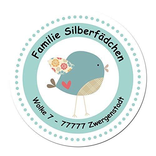 24 individuelle Aufkleber für Kinder - Motiv Vögelchen - personalisierte Sticker - Adresse Schule Einschulung