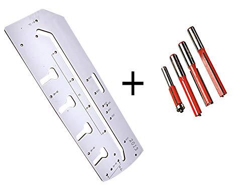 Set Frässchablone für Arbeitsplatten-Verbindungen + 4 Stück passende Nutfräser 12,7mm