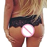 MERICAL Frauen Nahtlose Lace Briefs Unterwäsche Dessous Knickers Thongs G-String(L,Schwarz)