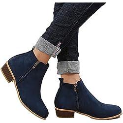 Botines Mujer Invierno Tacon Botas Piel Medio Tacon Ancho Ante Botita 3cm Casual Tobillo Ankle Boots Suede Zapatos Marrón Azul Negros 35-43 BL38