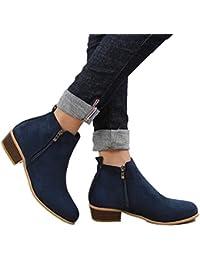 7cfe91fae751 Boots Femme Talon Bottine Femmes Hiver Daim Cuir Bottes Chelsea Low Chic  Cheville Compensées Grande Taille Chaussures 3cm Bleu…