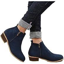 Botines Mujer Invierno Tacon Botas Piel Medio Tacon Ancho Ante Botita 3cm  Casual Tobillo Ankle Boots 4837ca489ec66