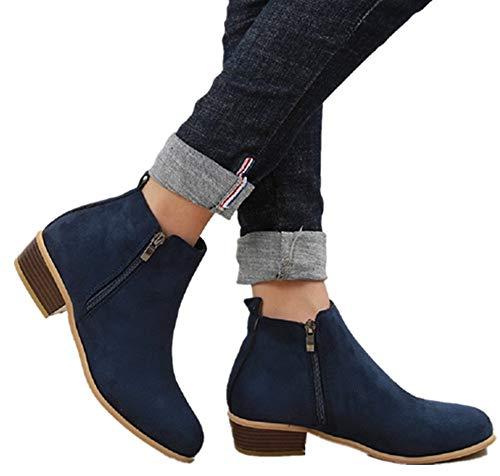 Botines Mujer Invierno Tacon Botas Piel Medio Tacon Ancho Ante Botita 3cm Casual Tobillo Ankle Boots Suede Zapatos Marrón Azul Negros 35-43 BL39