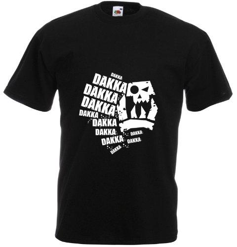 Print Wear Clothing Dakka Dakka Dakka, Mens Printed T-Shirt - Black/White XL
