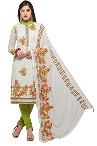 EthnicJunction Phulkari Embroidery Chanderi Unstitched Salwar Kameez Dress Material (EJ1180-88015, Offwhite)