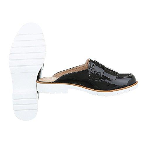 Pantoletten Damenschuhe Jazz & Modern Blockabsatz Blockabsatz Ital-Design Sandalen / Sandaletten Schwarz