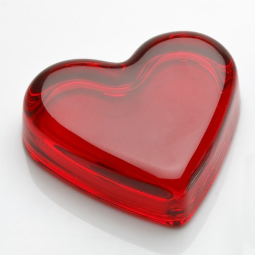 Deep Ruby Red Glass Heart Accent Paper Weight Handmade in Ohio by Trail Town Finds