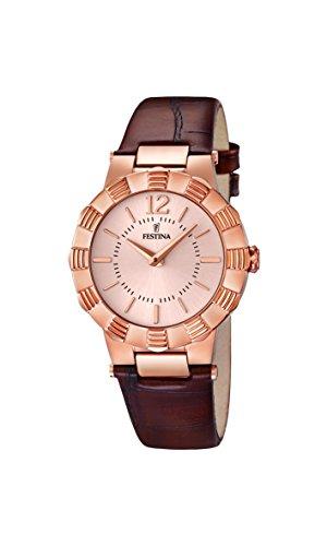 University Sports Press F16736/2 - Reloj de cuarzo para mujer, con correa de cuero, color marrón