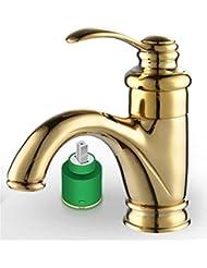 pengweiEuropéen de lavabo en cuivre plaqué or robinet antique or sur or dans le mélangeur robinet chaud et froid
