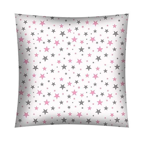 Kinder Baby Kissenbezug 40 x 40 cm 100% Baumwolle mit Reißverschluss (Ministars rosa)