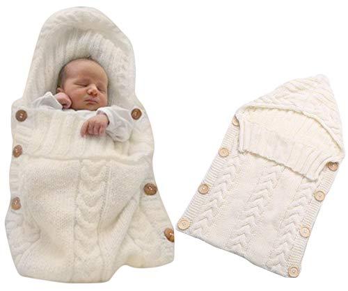 Neugeborenes Baby Gestrickt Wickeln Swaddle Decke Schlafsack für 0-12 Monat Baby (beige)