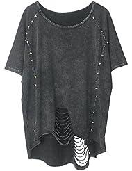 Aivtalk - Mujer Camiseta Punk T-shirt de Mangas Cortas Vintage Estilo Lavada Estampada Ropa Verano - Negro gris 1-10 Negro Gris Gris negro - Talla única