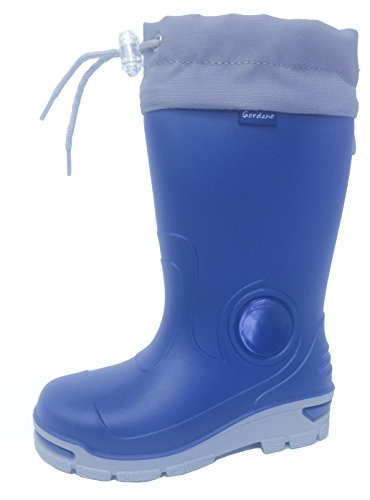 Muf01 Kids Boys Girls Wellington Boots Rainy Snow Wellies - Silver ions Ag+