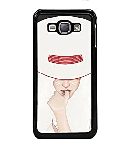 iFasho Gorgeous Winking Girl in white hat Back Case Cover for Samsung Galaxy J1 (2016 Edition)