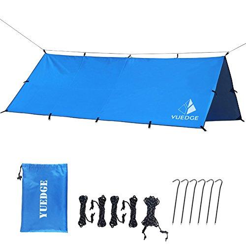 YUEDGE 3m×3m Tragbare Leichte Wasserdichte Zeltplanen, Tent Tarp (L Blau)