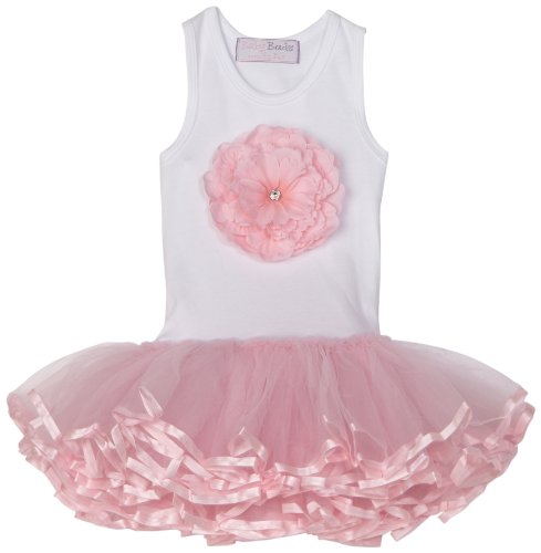 Mud Pie 192069-18 Pink Buds Tutu Dress Kleid weiß rosa (Mud Pie Weiß)