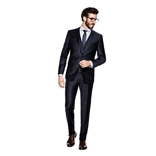 Benvenuto Black - Slim Fit - Herren Baukasten Anzug in Dunkelblau oder Grau (20751), Größe:102;Farbe:Dunkelblau (1254)