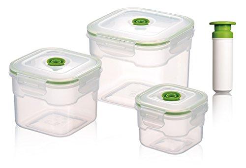 Vacuumsaver concise living co. ltd - contenitori per alimenti sottovuoto flavia, set da 3 pezzi, con valvola