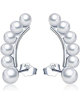 Unendlich U Unique Damen Ohrstecker 925 Sterling Silber 3-5mm Perlen Ohrringe Ohrhänger Pearls Earrings