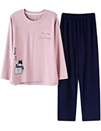 Meaeo Pijama De Algodón De Manga Larga para Mujeres Ropa De Dormir Ropa Masculina Conjunto Pijama