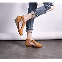 LXYYBFBD Sandals For Women,Europe And The United States Summer Ladies Sandals Fish Mouth Wedges Buckle Sandals Back With Breathable Wear-Resistant Non-Slip Ladies Sandals Brown,41
