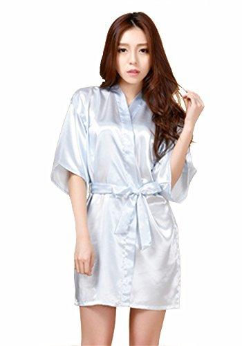 Honeystore Damen Morgenmantel glatte Satin Nachtwäsche angenehmer Bademantel Kimono Negligee Seidenrobe locker weicher Schlafanzug Glanz Look kurz Blau (Dunkle Kostüme Roben Jedi)