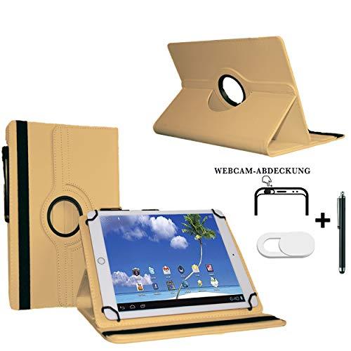 Tablet Schutzhülle 10.1 Zoll für Blaupunkt Endeavour 101G Hülle Etui Case mit Touch Pen und Webcam-Abdeckung- Beige 3in1
