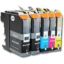 vhbw 5x Druckerpatronen Tintenpatronen Set mit Chip für Brother DCP-J 132W 152W 4110DW 552DW 752DW 650DW 6520DW 6720DW 6920DW 870DW 4310DW wie LC121.