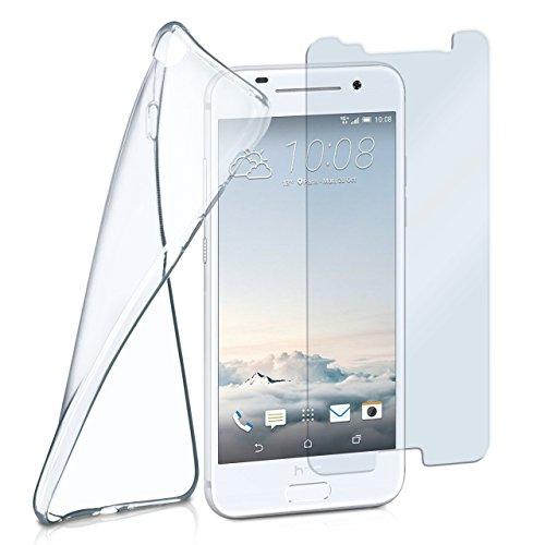 moex Silikon-Hülle für HTC One A9 | + Panzerglas Set [360 Grad] Glas Schutz-Folie mit Back-Cover Transparent Handy-Hülle HTC One A9 Case Slim Schutzhülle Panzerfolie