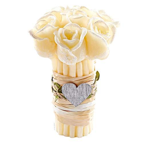 Scheda dettagliata DECORNAC Mazzo di Fiori Rose ♥ Candela profumata ♥ Handmade ♥ con Olio Essenziale Vaniglia, Regalo Matrimonio Battesimo Cresima (Colore Crema Aroma Vaniglia)