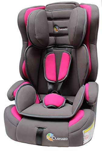 Clamaro \'Guardian FLEX\' 2in1 Isofix Kinderautositz 9-36 kg, Umbau zur einfachen Sitzerhöhung möglich, Auto Kindersitz für Kinder von 1-12 Jahre, Gruppe 1/2/3, ECE R44/04, Farbe: Pink/Grau
