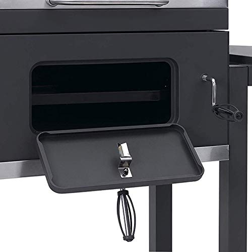 413jkkXTr7L. SS500  - HomeZone® Large Premium BBQ Charcoal Smoker - Portable Trolley Barrel - Adjustable Height Cooking Grill and Warming Shelf - Heat Resistant Black Steel Storage Shelf, Side Table