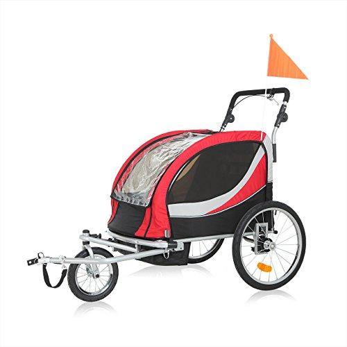 SAMAX PREMIUM Fahrradanhänger Jogger 2in1 360° drehbar Kinderanhänger Kinderfahrradanhänger Transportwagen vollgefederte Hinterachse für 2 Kinder in Rot/Grau - Silver Frame - 2