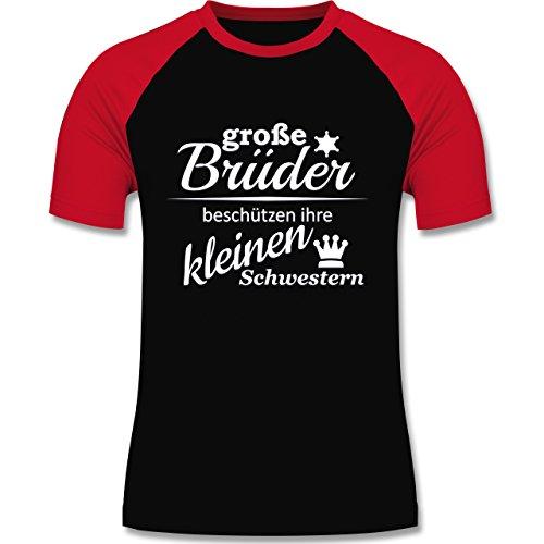 Sprüche - Große Brüder - zweifarbiges Baseballshirt für Männer Schwarz/Rot