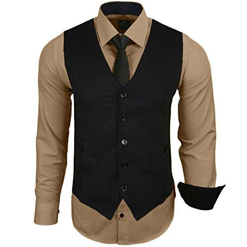Rusty Neal Herren Anzug Weste Anzugsweste Sakko Weste Wählbar mit Hemd RN-44-HWK, Farbe:Beige;Größe:2XL