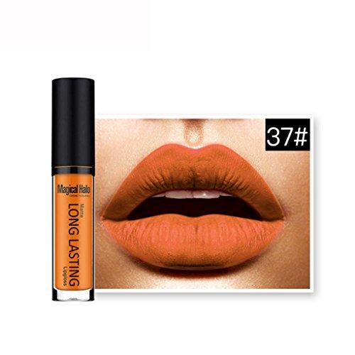 Rouges à lèvres,Covermason Imperméable à l'eau mate liquide rouge à lèvres longue durée Lip Gloss à lèvres (37#)